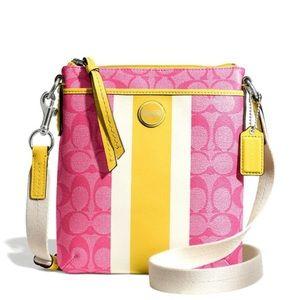 Coach Signature Stripe PVC Swingpack Crossbody Bag